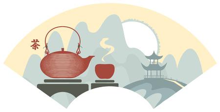 chinese tea cup: Monta�a paisaje chino con la pagoda y tetera y la taza. Jerogl�ficos Tea