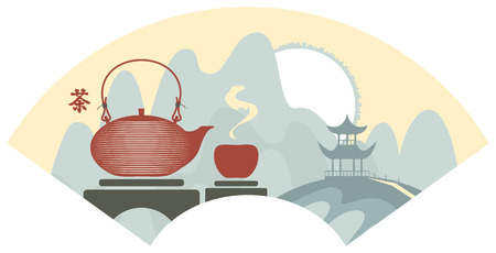 chinese teapot: Mountain Chinese landscape with pagoda and teapot and cup. Hieroglyphs Tea Illustration