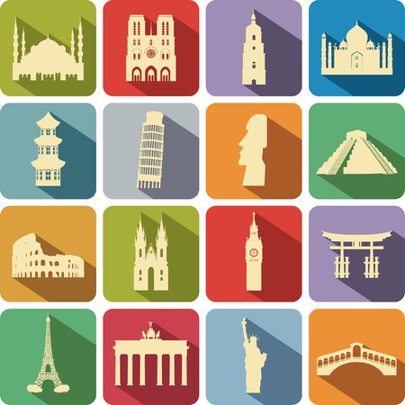 set of computer icons to the tourist attractions of the different countries Vector