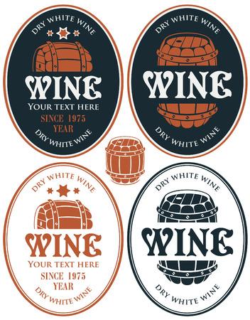 wine barrel: set of vector labels for wine barrel