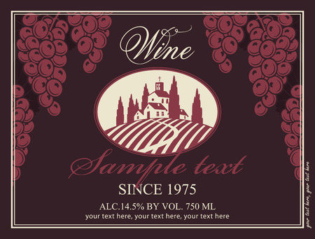 vineyard sunset: wine label with a landscape of vineyards