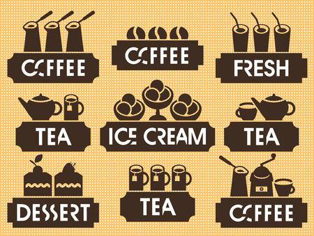 emblems set for hot drinks and desserts Vector