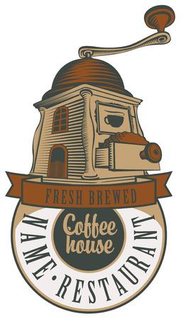 macinino caffè: emblema per un caff� o un ristorante con un macinino da caff�