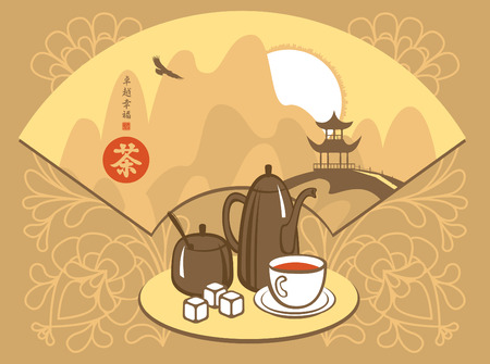 chinese fan: banner with cutlery for tea and Chinese fan with a picture of mountain scenery. Hieroglyphics  Perfection, Happiness, tea