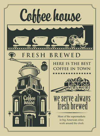 coffee house: set of design elements for a cafe shop in retro style