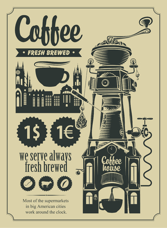 set of design elements for a cafe shop in retro style