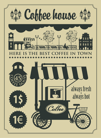 set of design elements for a cafe shop in retro style Vector