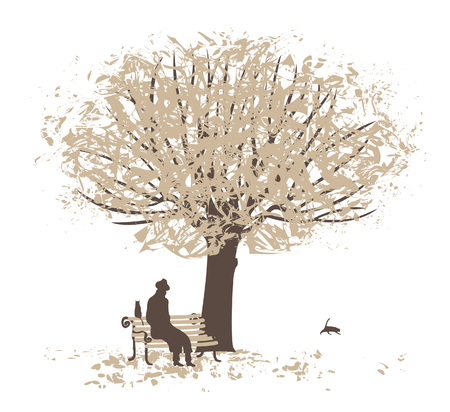 bench alone: scene in a city park with trees and a man on a bench Illustration