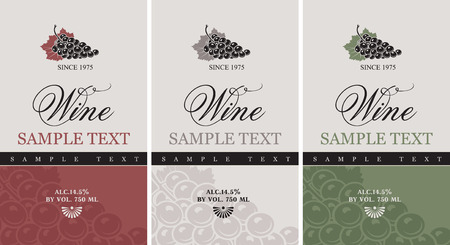 label frame: set of vector labels for wine with grapes