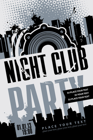 night club: Playbill for the musical party with speaker over modern city background