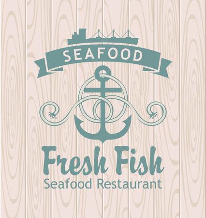 mariscos: banner con restaurante ancla y el barco de mariscos en el contexto de los tablones de madera