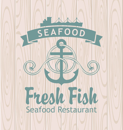 marine industry: banner with anchor and ship seafood restaurant against the background of wooden planks