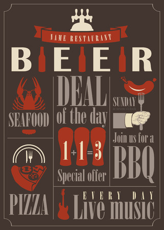 vector for pub menu with different dishes and glasses of beer