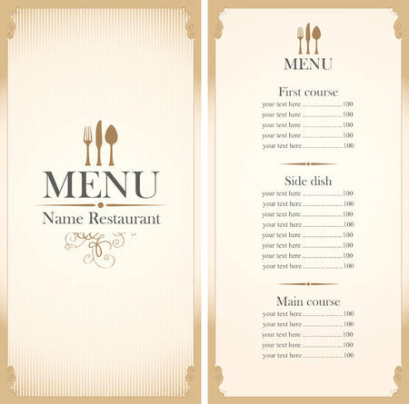 fork and spoon: menu template with cutlery fork, spoon and knife