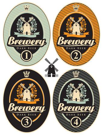 cerveza negra: conjunto de etiquetas para la cerveza y la fábrica de cerveza con un molino
