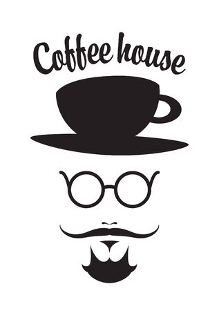 coffee house: mustached man with a cup on his head and the words coffee house