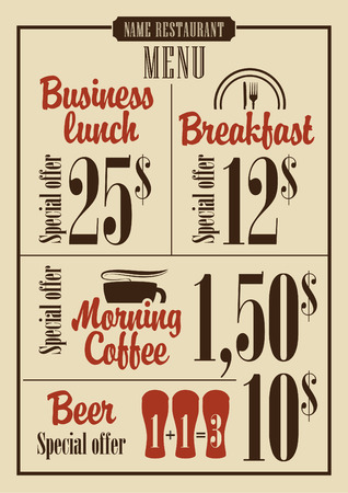 menu board: board menu for the restaurant with the prices for business lunches, breakfast and coffee