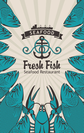 ship anchor: vector banner for seafood with a ship anchor, fish and lobster Illustration