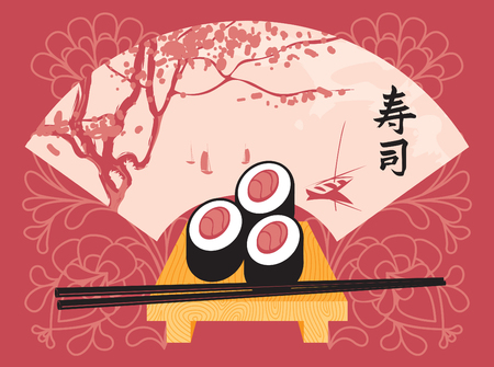 jasmin: Sushi on a tray with chopsticks on a background of a fan with a picture of spring landscape with lake and trees. Character Sushi Illustration