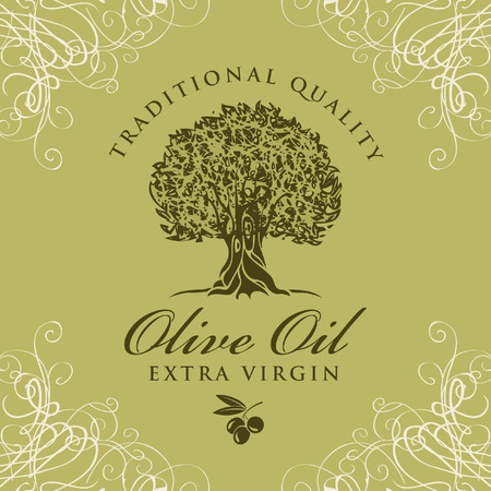 banner with olive tree and olive oil labeled