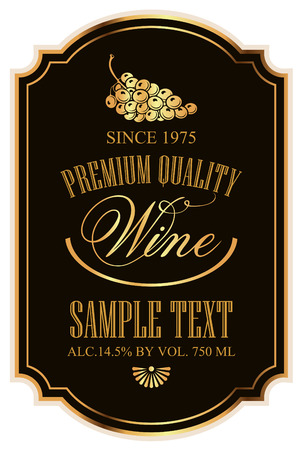label for wine with grapes on a black background with gold Vettoriali