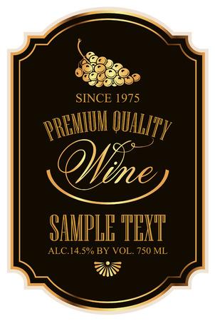 TIqueter pour le vin avec des raisins sur un fond noir avec de l'or Banque d'images - 36302608