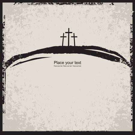 resurrecci�n: ilustraci�n vectorial sobre temas cristianos con tres cruces Vectores