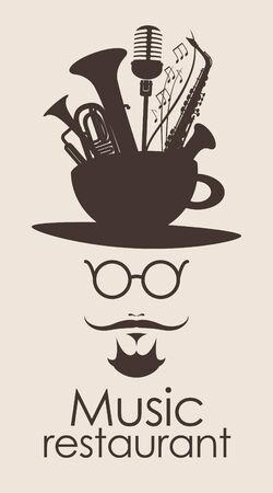 instrumentos musicales: banner con la cabeza de un hombre con bigote con una taza y los instrumentos musicales Vectores