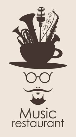 jazz men: banner with the head of a mustachioed man with a cup and musical instruments
