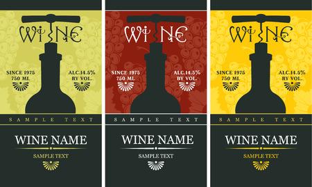 label met een fles wijn en een kurkentrekker
