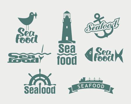 shrimp boat: vector Seafood labels, icons, badges template set Illustration