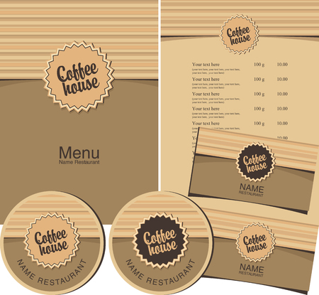 coffee house: set for the coffee house menu, business cards and coasters for drinks