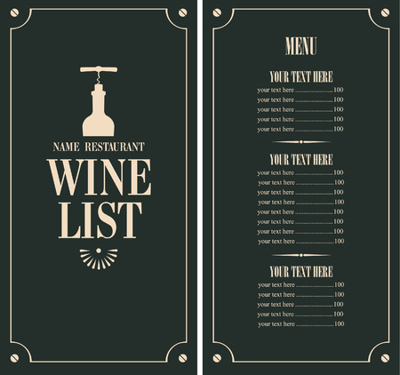 wine list with a bottle and price Vectores