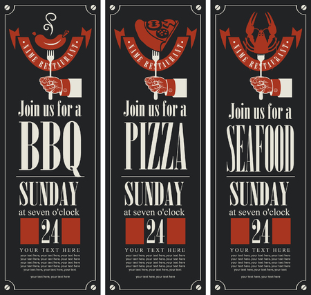 sign: vector set of vertical banners on the theme of barbecue, pizza and seafood Illustration