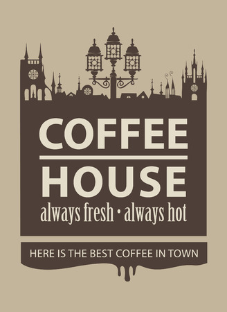 旧市街の写真とコーヒー ・ ハウスのメニュー  イラスト・ベクター素材