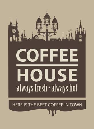 menú de cafetería con una imagen de la ciudad vieja