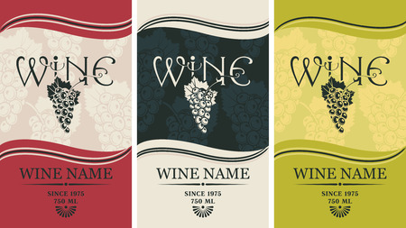 wine label design: set of labels for wine with grapes