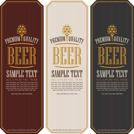 octoberfest: set labels for beer in a retro style with malt