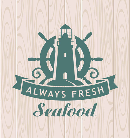 seafood background: banner for seafood with a lighthouse and a steering wheel Illustration