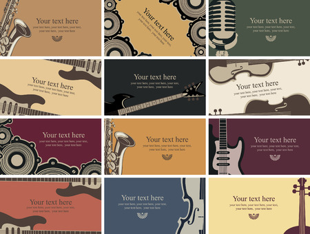 rock n: set of business cards with musical instruments
