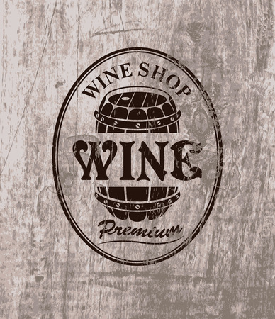 wine barrel: vector label for cask of wine on the background of wooden boards