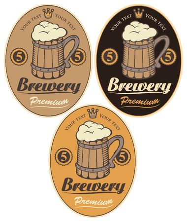 set labels for the beer with wooden mug Illustration