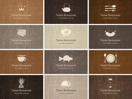set of business cards on food and drink with fabric texture