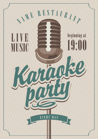 karaoke: banner with microphone for karaoke parties Illustration