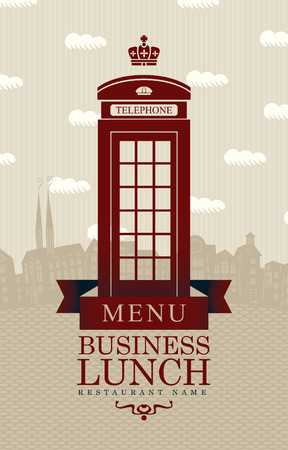 old phone: Vector menu for business lunches with phone booth and building of Old London