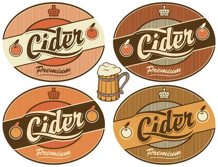 apple border: Set of four vector labels for cider