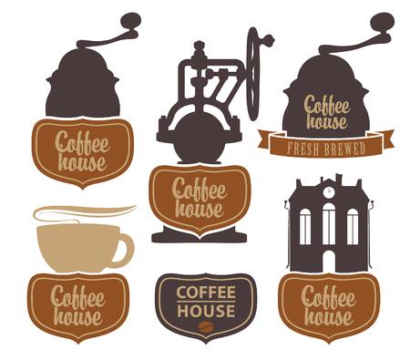 macinino caffè: carattere vettoriale set con caff� con un coffee grinder Vettoriali