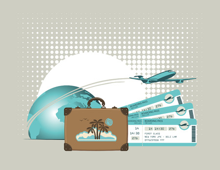 plane tickets: vector banner for air travel with an airplane planet suitcase and plane tickets