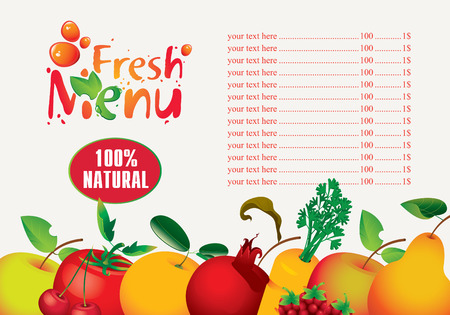menus for juice and fresh juices from various fruits Ilustrace