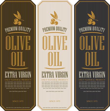 hoja de olivo: conjunto de etiquetas para los aceites de oliva Vectores